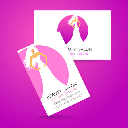 hairdressing salon: Beauty logo. Design of corporate identity. Template business card for beauty salon, hairdressing salon, spa, womens club and so on. Illustration
