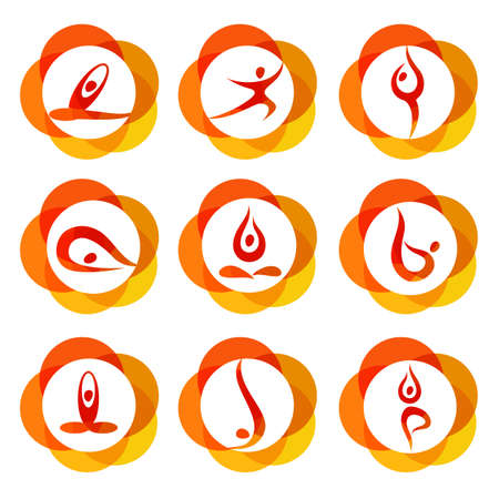 icono deportes: Yoga - colección de plantillas. Signos de asanas de yoga.