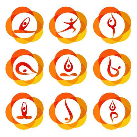 Yoga - templates collection. Signs of yoga asana.