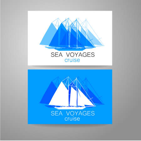 ferry boat: Sea cruise - logo. Design of the presentation of corporate identity on the example of a business card.