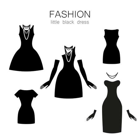 clothing store: Black dress on a white background. The collection of clothing and accessories. Illustration