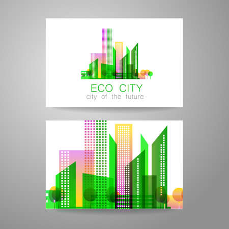 green city: Eco city - logo. Template concept of corporate identity.