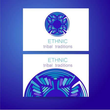 identidad cultural: Ethnic logo - a traditional symbol. Template design of corporate identity in the traditional style of ethnic shops, yoga studios, a center of cultural development, organic food store, natural cosmetics manufacturer and others.