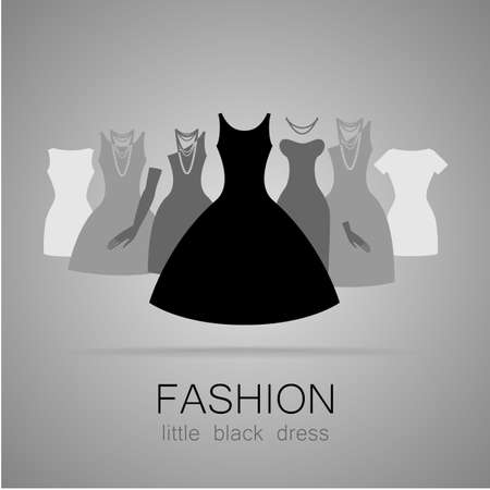 woman shop: Black dress - classic fashion. Template logo for a clothing store, womens boutique brand womens dresses.
