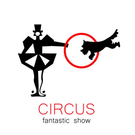 entertainer: Circus - template logo. Show trained dogs. Illustration
