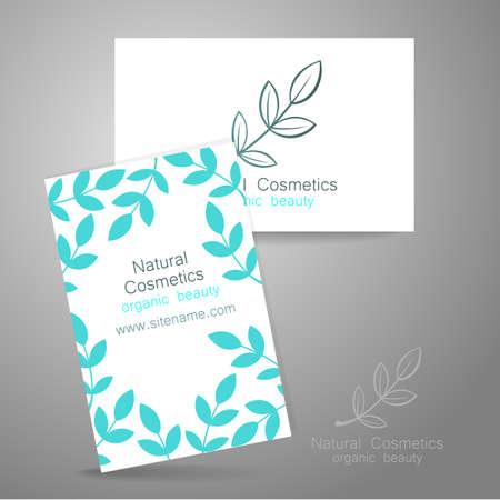 presentation card: Natural cosmetics logo. Template design for organic bio products. Presentation of the business card.