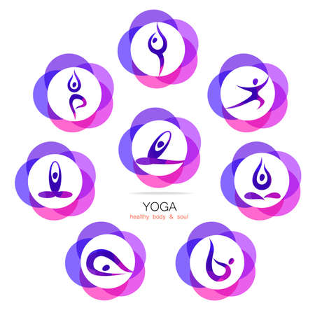 web template: Yoga - templates collection. Signs of yoga asana.