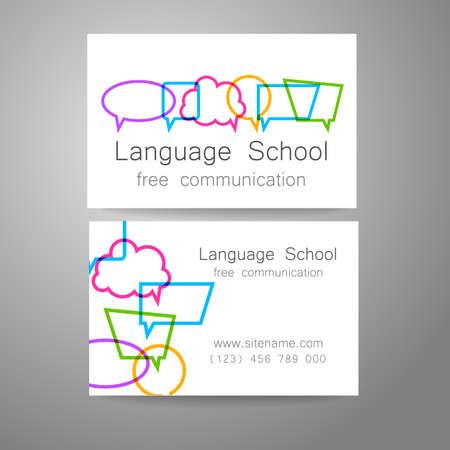 言語の学校のロゴのデザイン テンプレート。学校、コース、会話クラブ、言語センター、翻訳会社のデザイン マークのアイデア。ブランド名刺をデ
