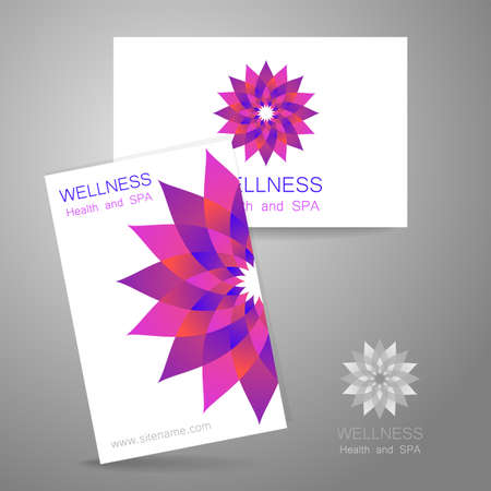wellness center: Wellness logo. Template design corporate identity for yoga studios, recreation center, organic food store, natural cosmetics manufacturer, beauty salon, spa and others.