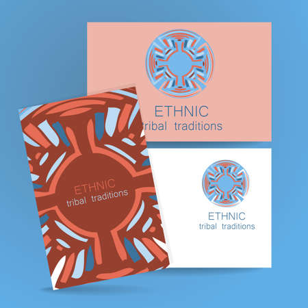 print shop: Ethnic logo - a traditional symbol. Template design of corporate identity in the traditional style of ethnic shops, yoga studios, a center of cultural development, organic food store, natural cosmetics manufacturer and others.
