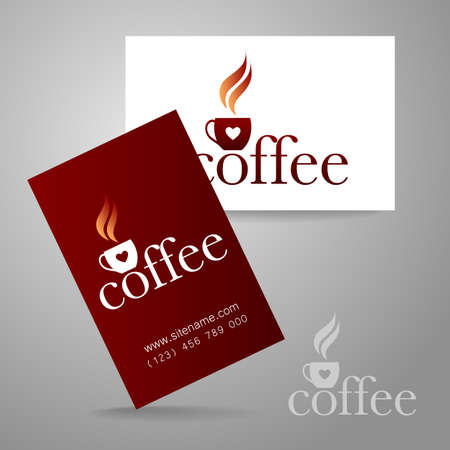 symbol icon: Coffee logo. Corporate identity design for coffee house, coffee shop, bar, etc. Template design business card.
