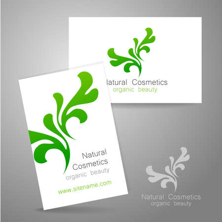 identity template: Natural Cosmetics - logo. The concept of corporate identity. Template design for organic bio cosmetics.