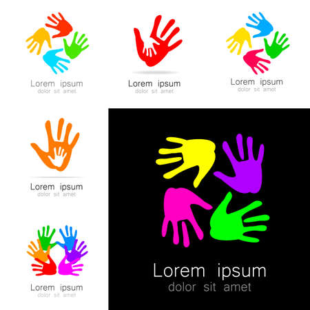 logo handshake: Hands - a collection of logo templates. Design Ideas for team logo, companies, organizations, foundations, social project, unions and others.