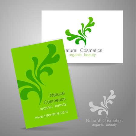 eco logo: Natural Cosmetics - logo. The concept of corporate identity. Template design for organic bio cosmetics.