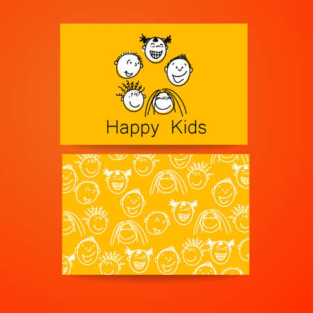 BRANDED: Happy children logo. Template design sign for school, kindergarten, summer camps, childrens team and others. Branded business card.