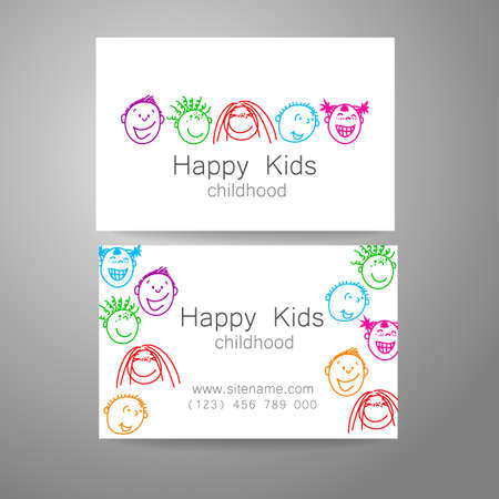 Happy children logo. Template design sign for school, kindergarten, summer camps, childrens team and others. Branded business card.