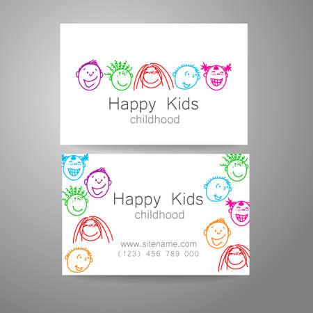 infancia: Niños felices logotipo. Signo de Diseño de la plantilla para la escuela, guardería, campamentos de verano, el equipo de los niños y otros. Tarjeta de visita de la marca.