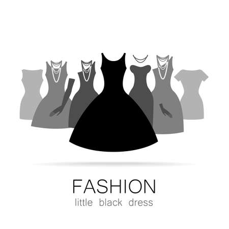 clothing store: Black dress - classic fashion. Template logo for a clothing store, womens boutique brand womens dresses.