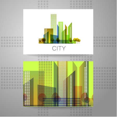 logos de empresas: Ciudad Eco - logo. Concepto Plantilla de identidad corporativa.