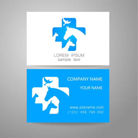 veterinario: Veterinaria - logotipo de la plantilla. La idea del logotipo para el servicio veterinario, farmacia, hospital, atenci�n de centro, animales del refugio. Tarjeta de visita de la marca. Vectores