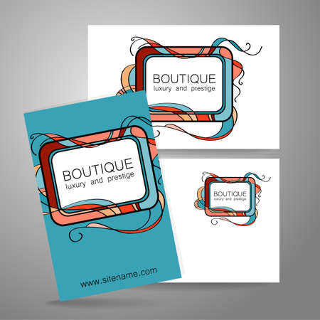 graphic art: Boutique logo. Template design of corporate identity for the prestigious high-end salon,  brand, restaurant, store, spa and etc. Illustration