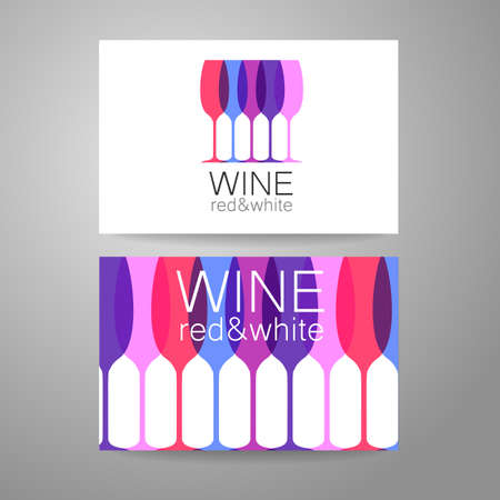 wine and food: Wine - logo. Template Concept of corporate identity for the wine shop, bar, production. Business card.