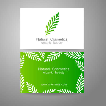 beauty salons: Natural Cosmetics - logo. The concept of corporate identity. Template design for organic bio cosmetics.