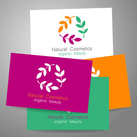 beauty salons: Natural cosmetics logo. Template design for organic bio products. Presentation of the business card.