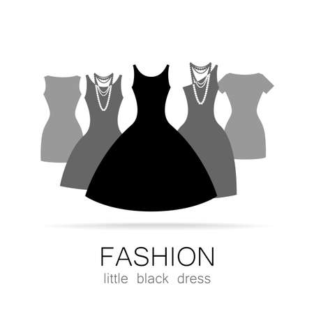 black dress: Black dress - classic fashion. Template logo for a clothing store, womens boutique brand womens dresses.