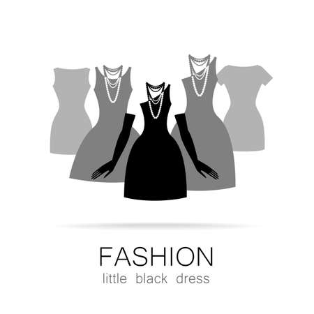 prints: Black dress - classic fashion. Template logo for a clothing store, womens boutique brand womens dresses.