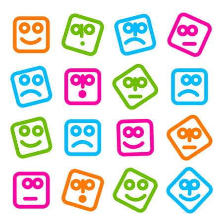 caras de emociones: Colección de sonrisas iconos para el diseño. Plantillas simples originales para SMS, MMS, mensajería instantánea, redes sociales. Vectores
