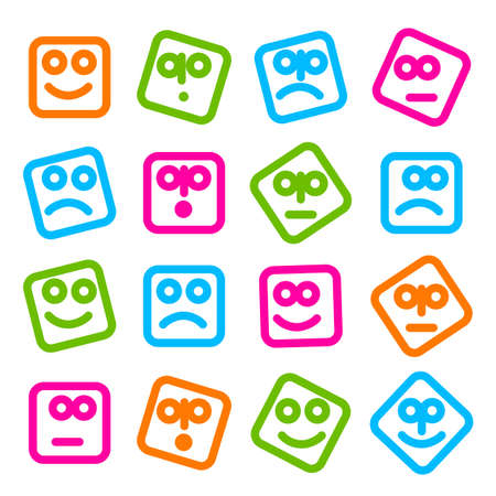 emotions faces: Collection of smiles icons for design. Simple original templates for SMS, MMS, instant messaging, social networking.