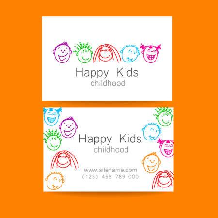 personalausweis: Glückliche Kinder logo. Template-Design Zeichen für Schule, Kindergarten, Sommerlager, Kinder-Team und andere. Marken-Visitenkarte.