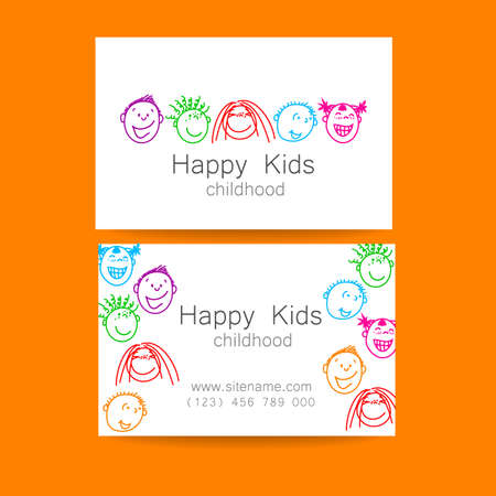 branded: Happy children logo. Template design sign for school, kindergarten, summer camps, childrens team and others. Branded business card.