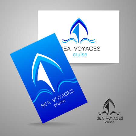 logotipo turismo: Crucero de mar - logotipo. Dise�o de la presentaci�n de la identidad corporativa en el ejemplo de una tarjeta de visita.