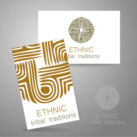 manufacturer: Ethnic logo - a traditional symbol. Template design of corporate identity in the traditional style of ethnic shops, yoga studios, a center of cultural development, organic food store, natural cosmetics manufacturer and others.