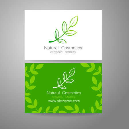 herbal: Natural cosmetics logo. Template design for organic bio products. Presentation of the business card.