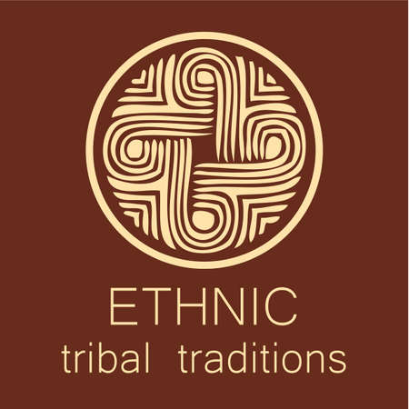 people icon: Ethnic logo - a traditional symbol. Template design.