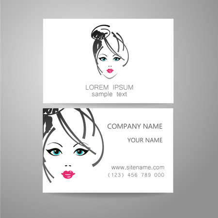Hair salon, hairdresser - template logo. Branded business card hair stylist.  イラスト・ベクター素材