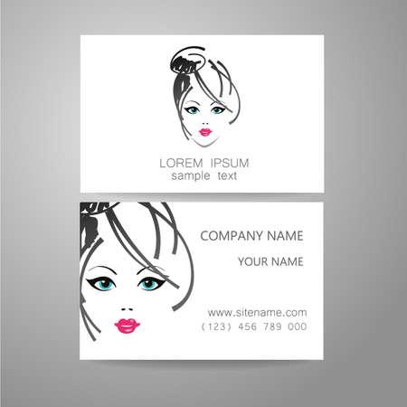 natural cosmetics: Hair salon, hairdresser - template logo. Branded business card hair stylist. Illustration