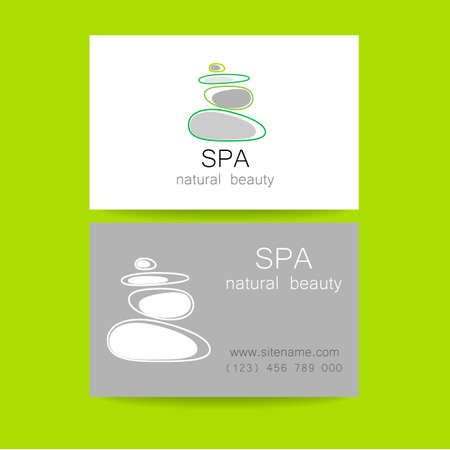 massage: Spa - a beauty salon. Stone pyramid as a symbol - of balance and harmony. Template Logo Design for beauty salon, spa center, beauty treatments, massages etc..