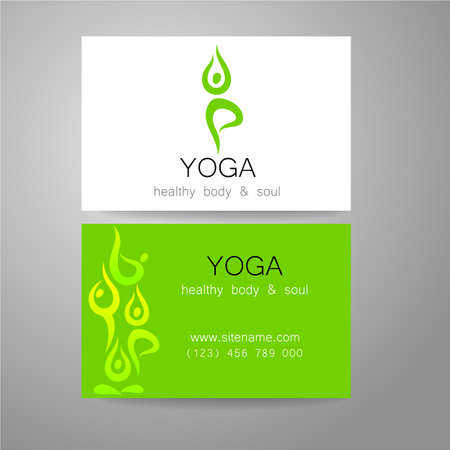 Yoga logo - sign design and business cards. Template for yoga studios, classes, schools, the center of Ayurveda, health, oriental spa center and others.