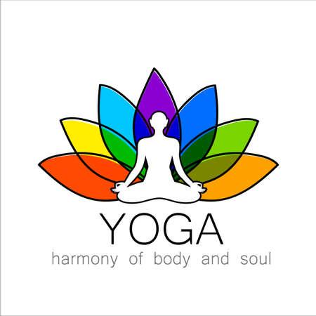 flor de loto: vector de yoga plantilla de diseño.