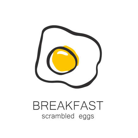 scrambled: Breakfast - fried or scrambled eggs. Template design for the , menus, flyers for cafes, restaurants, fast food, food.