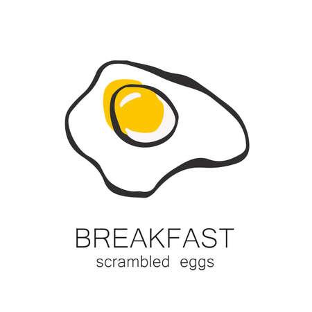 fried food: Breakfast - fried or scrambled eggs. Template design for the  menus, flyers for cafes, restaurants, fast food, food. Illustration