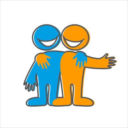 Symbol of friendship. Icon Happy friends. Vector sign.
