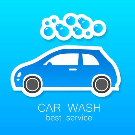 autolavado: Lavado de coches - signo vector. Diseño de la plantilla para los iconos, pegatinas carwash.