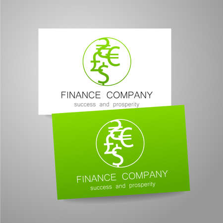 financial symbol: Financial Company - template . Sign of the money - a symbol of the dollar, euro, pound, and others. The presentation of the design  for the financial companies, banks, currency exchange, community fund and others. Illustration