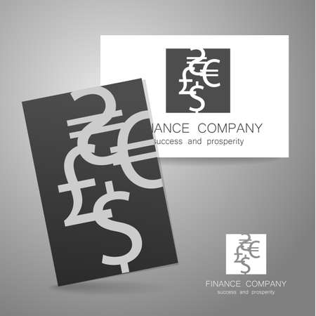financial symbol: Financial Company - template . Sign of the money - a symbol of the dollar, euro, pound, and others. The presentation of the design of the for the financial companies, banks, currency exchange, community fund and others. Illustration