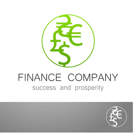 money exchange: Financial Company - template  Sign of the money - a symbol of the dollar, euro, pound, and others. The presentation of the design of the for the financial companies, banks, currency exchange, community fund and others. Illustration